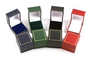 10 Luxury Leatherette Ring Boxes - Colour Choice