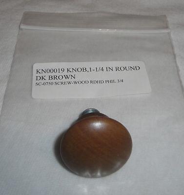 """NEW Longaberger 1 1/4"""" Round Dark Brown Woodcrafts Knob"""