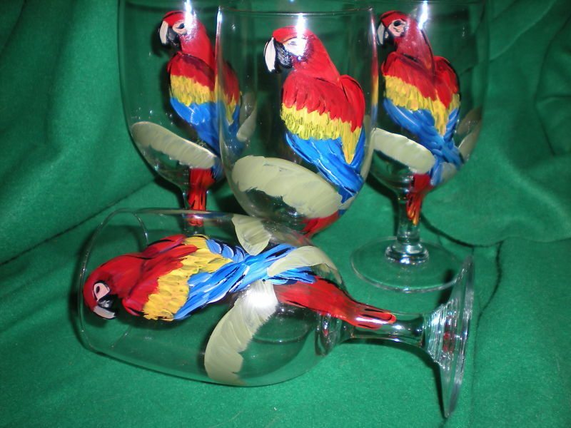 HAND PAINTED VIBRANT PARROT/PALM ICE TEAS / SET OF 4