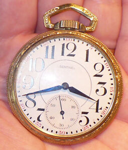 ANTIQUE-1940s-SENTINEL-POCKET-WATCH-17-JEWELS