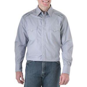 WRANGLER-Mens-FINE-DETAL-EMBROIDERY-Shirt-XL-Gray