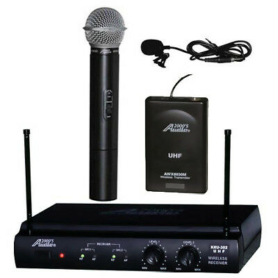 Audio2000's Awm-6032ul Uhf Dual Channel Lavalier & Handheld Wireless Microphone