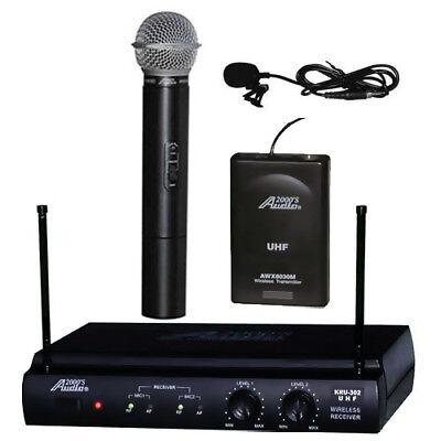 Audio2000's Awm-6032ul Uhf Dual Channel Lavalier & Handheld Wireless Microphone
