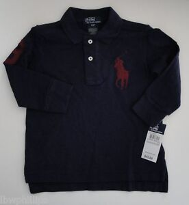 NWT Ralph Lauren Boys Long Sleeved Mesh Big Pony #3 Polo Sz 6 NEW $45 1n
