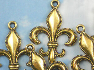 12 Fleur de Lis Charms Beaded Edge Antiqued Gold Fluer NOLA #P585
