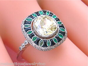 ART-DECO-2ctw-YELLOW-DIAMOND-EMERALD-ONYX-PLATINUM-RING
