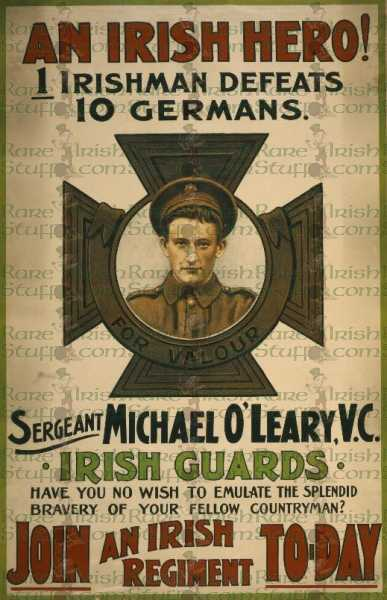 World War 1 Michael O'Leary Join Irish Regiment Propaganda WW1 -  Photo Picture