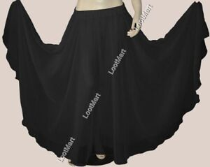 Belly Dance Black Full Circle Skirt Costume Tribal Club