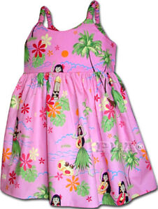NEW PL HAPPY HULA GIRL'S HAWAIIAN DRESS 6M-8Y NEW