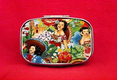 Mexican Pin Up Girls Latinas Metal Pill Mint Box Case