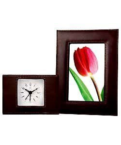 LC Designs Brown Faux Leather Clock & Frame Set A330794 IDEAL CHRISTMAS GIFT