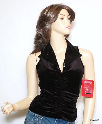 $168 Js Collections Stretch Velour Velvet Beaded Evening Top Blouse Black 4