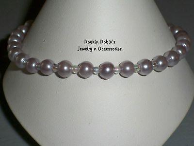 """Stretch Lavender Pearl Anklet Ankle Bracelet - 10"""""""