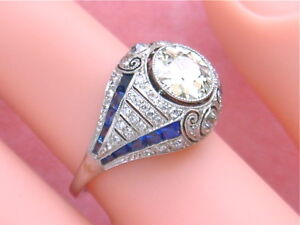 ANTIQUE-ART-DECO-1-78ctw-EUROPEAN-CUT-DIAMOND-70ctw-SAPPHIRE-PLATINUM-RING-1920