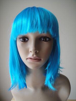 Halloween pour Femmes Filles Bleu Courte Perruque Cosplay Costume - Deguisement Halloween Femme