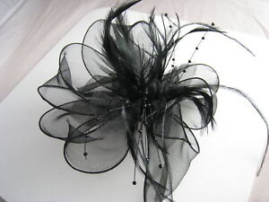 Black Flower Feather Bead Corsage Hair Clips Fascinator