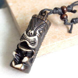 Tibet Cute Yak Bone Carved Tiki Totem Necklace Pendant