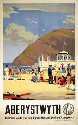 Aberystwyth Beach Scene  (old GWR ad.) fridge magnet   (pt)   (se)