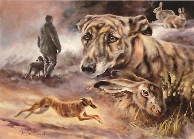 WHIPPET LURCHER GREYHOUND COURSING DOG FINE ART PRINT - by the late Mick Cawston