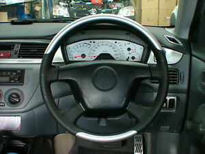 Mitsubishi CH Lancer Black/Silver Sports Airbag Steering Wheel