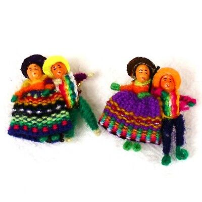 498 Six Worry Doll Pins Pairs Hand Made Fair Trade Peru Pack Children Gift