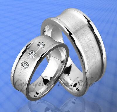 2 Silber Ringe Trauringe m. 3 Stein inkl. Gravur  J89-3 ()