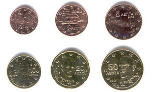Greece-2006-Maxi-Set-of-6-Euro-Coins-UNC-RARE