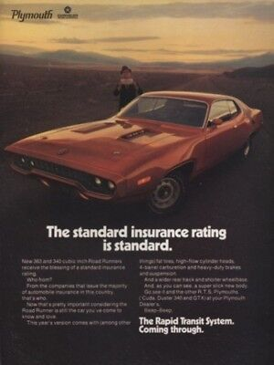 1971 PLYMOUTH ROAD RUNNER 383 & 340 ~ ORIGINAL MUSCLE CAR AD