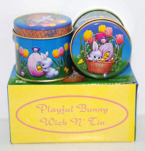 Lot of 2 Easter Bunny Rabbit Candle Tins in Box