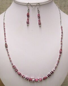 Necklace-and-Earrings-Set-Handmade-With-Red-and-Silver-Aluminum-Laser-Cut-Beads