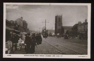 Durham-STOCKTON-ON-TEES-High-St-market-RP-PPC-1907