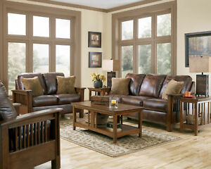 gabriel mission rustic brown faux leather sofa couch