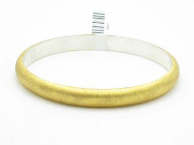 18kt Gold Sterling Silver Brushed Cuff Bangle Bracelet