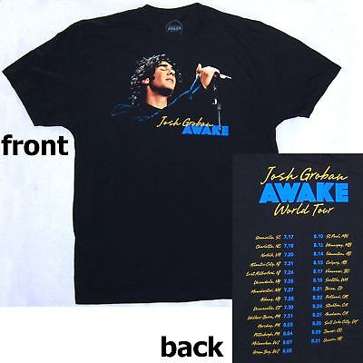 JOSH GROBAN SINGING PIC AWAKE TOUR (GREENVILLE-OMAHA) BLK T-SHIRT NEW OFFICIAL S