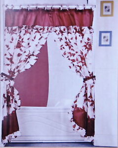 Double Swag Fabric Shower Curtain Vinyl Liner 12 Hooks Ebay