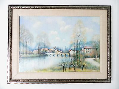 French Jean L Vergne B 1929 Oil Painting Village With Bridge Signed Well Listed