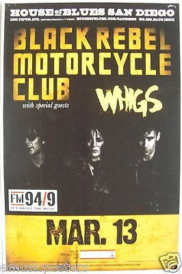 BLACK REBEL MOTORCYCLE / WHIGS 2010 SAN DIEGO CONCERT POSTER - Garage Rock Music
