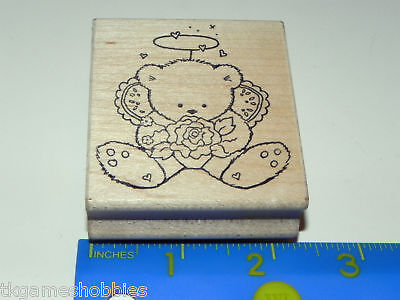 Great Impressions Rubber Stamp Angel Bear Halo Hearts