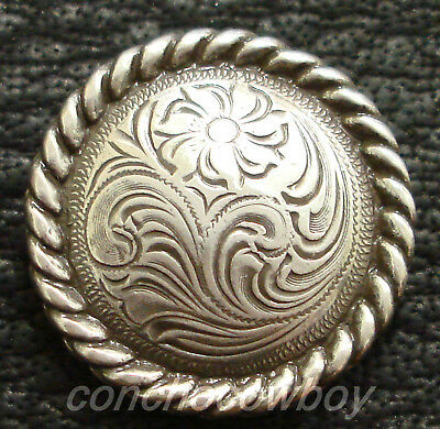 """WESTERN HEADSTALL SADDLE HORN CAP ANTIQUE ROPE EDGE CONCHO 2-3/8"""" screw back"""