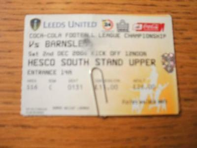 02/12/2006 Ticket: Leeds United v Barnsley  (Creased, F