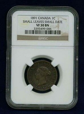 CANADA VICTORIA 1891 LARGE CENT CERTIFIED NGC VF30 BN