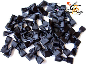 50-TINY-PETITE-BLACK-SATIN-BOWS-17MM-WIDE-APPROX