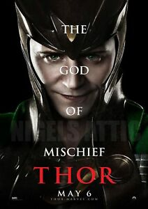 LOKI-GOD-of-MISCHIEF-THOR-A4-printed-movie-poster