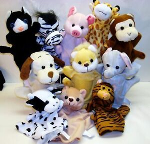 LOT-of-12-Hand-Zoo-Farm-Safari-ANIMAL-Material-Puppets-Play-Party-Favor