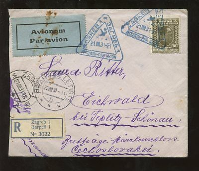CROATIA 1931 REGIST.to CZECH..AIRMAIL TRIANGULAR CANCEL