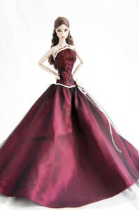 BARBBIE-FR-Silkstone-Wine-silk-dress-outfit-doll-not-encluded