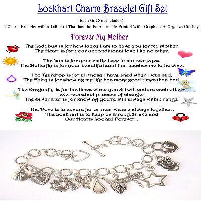Mothers Mom Forever Themed Charm Bracelet + Poem Card