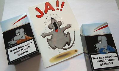 Uli Stein 2 x Zigarettenschachteln Cover + 1x Postkarte