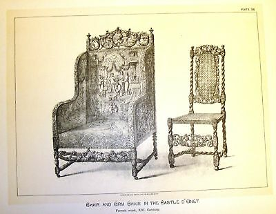 Art Furniture Litho  1880   Chairs In Castle Donet