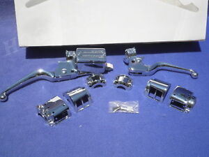HARLEY-EVOLUTION-84-95-CHROME-HAND-CONTROLS-SWITCH-HOUSING-BRAKE-CLUTCH-KIT